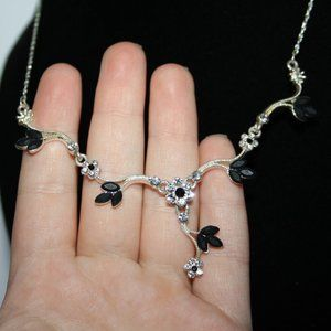 Silver and black rhinestone flower drop necklace